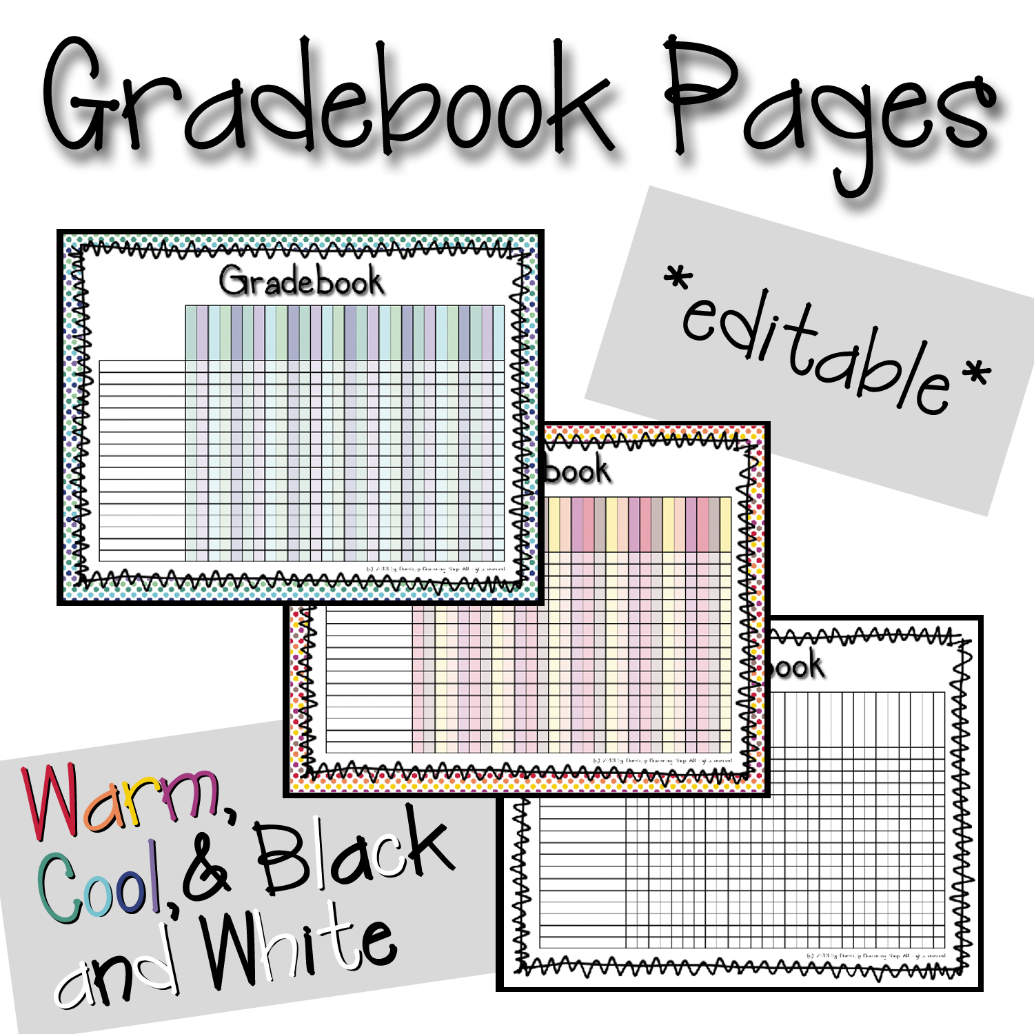 grade book pages